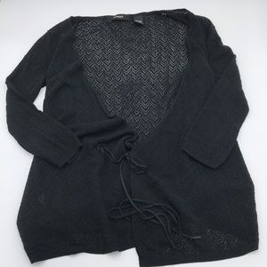 Express XS cardigan tie front textured open knit